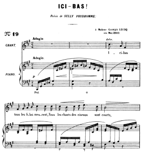 ici-bas op.8 no.3, medium voice f-sharp minor, g. fauré. for mezzo or baritone. ed. leduc (a4)