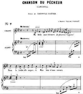 la chanson du pêcheur op.4 no.1, medium voice f minor, g. fauré. for mezzo or baritone. ed. leduc (a4)