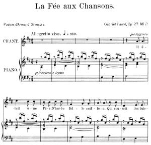 La fée aux chansons Op. 27 No.2, Medium Voice in D Major, G. Fauré. For Mezzo or Baritone. Ed. Leduc (A4) | eBooks | Sheet Music