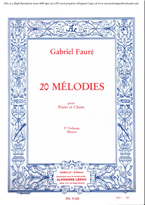 First Additional product image for - La fleur qui va sur l'eau Op.85 No.2, Medium Voice in B minor G. Fauré. For Mezzo or Baritone. Ed. Leduc (A4)