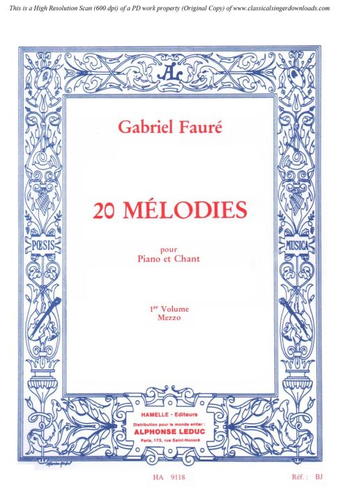 First Additional product image for - La rançon Op.8 No.2, Medium Voice C minor, G. Fauré. For Mezzo or Baritone. Ed. Leduc (A4)
