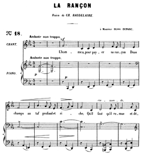 la rançon op.8 no.2, medium voice c minor, g. fauré. for mezzo or baritone. ed. leduc (a4)