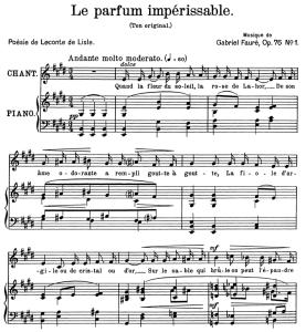 le parfum impérissable op.76 no.1, medium voice in e major, g. fauré. for mezzo or baritone. ed. leduc (a4)