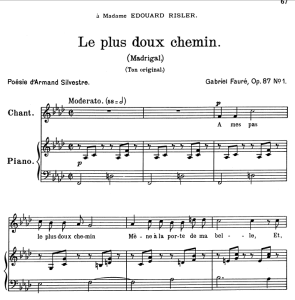 le plus doux chemin op.87 no.1, medium voice in f minor, g. fauré. for mezzo or baritone. ed. leduc (a4)