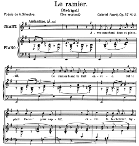 le ramier op.87 no.2, medium voice in f minor, g. fauré. for mezzo or baritone. ed. leduc (a4)