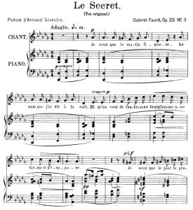 Le secret Op.23 No.3, Medium Voice in D-Flat Major, G. Fauré. For Mezzo or Baritone. Ed. Leduc (A4) | eBooks | Sheet Music