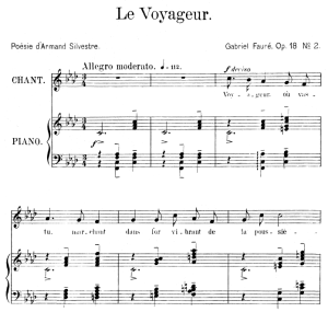 Le voyageur Op.18 No.2, Medium Voice in F minor G. Fauré. For Mezzo or Baritone. Ed. Leduc (A4) | eBooks | Sheet Music