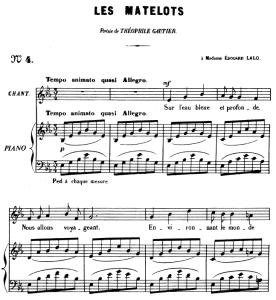les matelots op.2 no.2, medium voice in e-flat major, g. fauré. for mezzo or baritone. ed. leduc (a4)