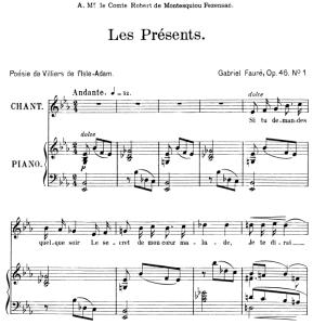 les présents op.46 no.1, medium voice in e-flat major, g. fauré. for mezzo or baritone. ed. leduc (a4)