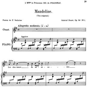 mandoline op.58 no.1, medium voice in g major, g. fauré. for mezzo or baritone. ed. leduc (a4)