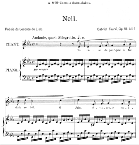 nell op.18 no.1, medium voice in e-flat major, g. fauré. for mezzo or baritone. ed. leduc (a4)
