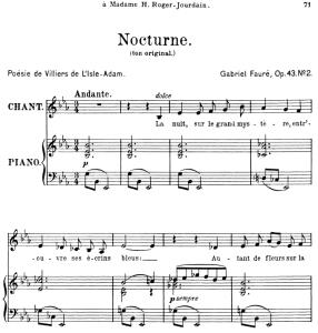 nocturne op.43 no.2, medium voice in e-flat major, g. fauré. for mezzo or baritone. ed. leduc (a4)