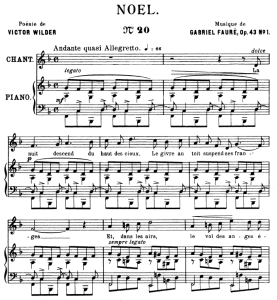 noël op.43 no.1, medium voice in f major, g. fauré. for mezzo or baritone. ed. leduc (a4)