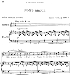 Notre amour Op.23 No.2, Medium Voice in D Major, G. Fauré. For Mezzo or Baritone. Ed. Leduc (A4) | eBooks | Sheet Music