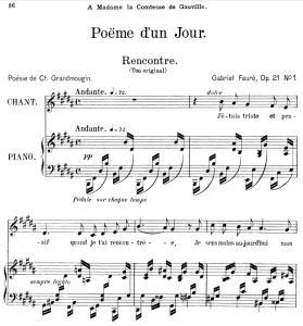 poème d'un jour (rencontre) op.21 no.1, medium voice in b major, g. fauré. for mezzo or baritone. ed. leduc (a4)