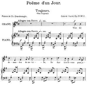 poème d'un jour (toujours) op.21 no.2, medium voice in e minor, g. fauré. for mezzo or baritone. ed. leduc (a4)