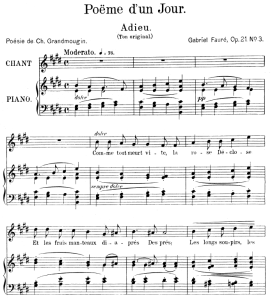 poème d'un jour (adieu) op.21 no.3, medium voice in e major, g. fauré. for mezzo or baritone. ed. leduc (a4)