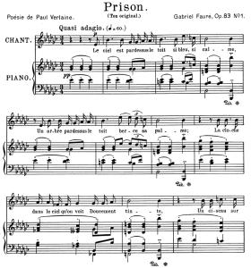 prison op.83 no.1, medium voice in e-flat minor, g. fauré. for mezzo or baritone. ed. leduc (a4)