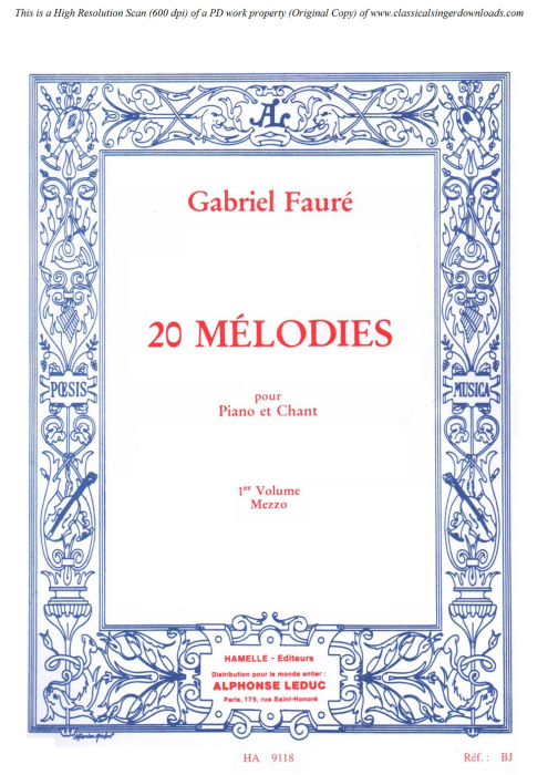 First Additional product image for - Rêve d'amour Op.5 No.2, Medium Voice in E-Flat Major, G. Fauré. For Mezzo or Baritone. Ed. Leduc (A4)