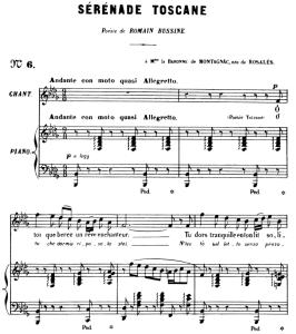 sérénade toscane op.3 no.2, medium voice in b-flat minor, g. fauré. for mezzo or baritone. ed. leduc (a4)
