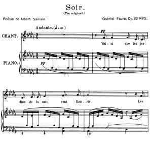 soir op.83 no.2, medium voice in d-flat major, g. fauré. for mezzo or baritone. ed. leduc (a4)