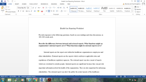 Healthcare Reporting Worksheet | Documents and Forms | Research Papers
