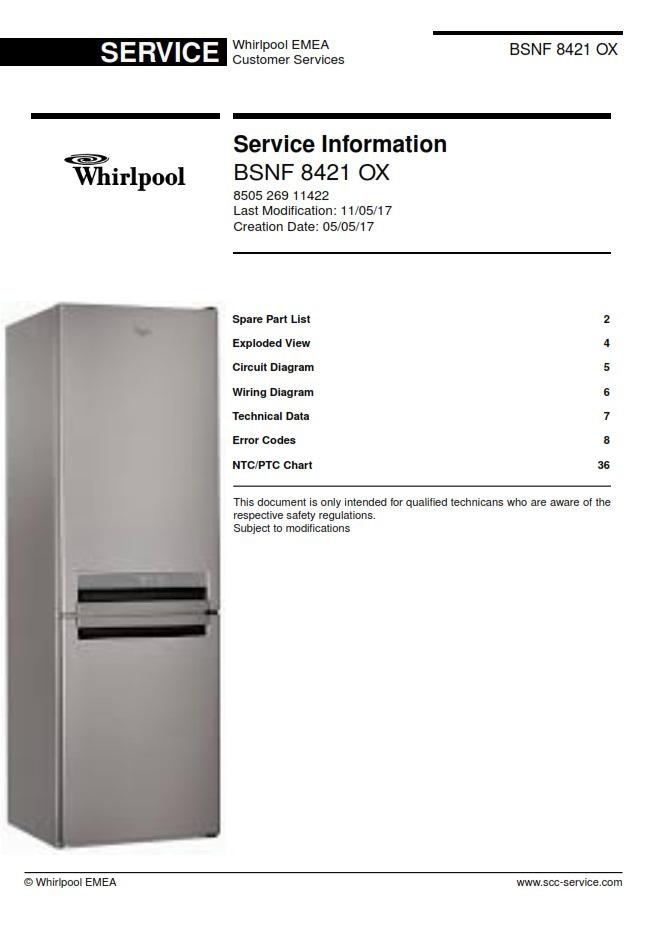 Whirlpool BSNF 8421 OX refrigerator Service Manual | eBooks | Technical
