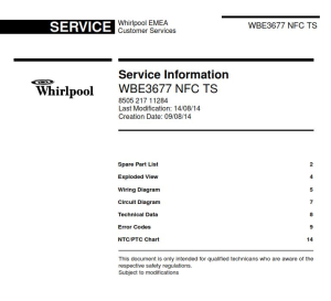 whirlpool wbe 3677 nfc ts refrigerator service manual