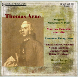 thomas augustine arne - songs to shakespeare plays