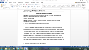 healthcare structures worksheet
