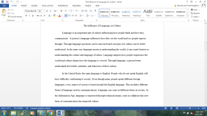 writing essay # 3 (the influence of language on culture)