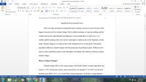 Significant Environmental Issue | Documents and Forms | Research Papers