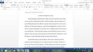 Confucius and Aristotle on Virtue | Documents and Forms | Research Papers