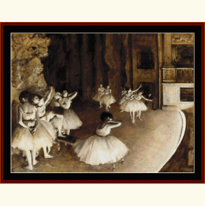 ballet reahearsal on stage ii - degas cross stitch pattern by cross stitch collectibles
