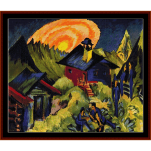 moon rising - e.l. kirchner cross stitch pattern by cross stitch collectibles