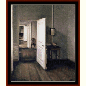 open door - hammershoi cross stitch pattern by cross stitch collectibles