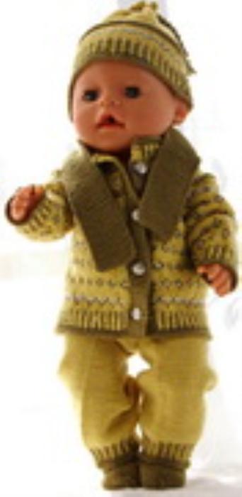 First Additional product image for - DollKnittingPatterns 0177D RITA - Kofte, lue, bukse og sokker-(Norsk)