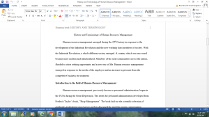 History and Terminology of Human Resource Management | Documents and Forms | Research Papers