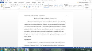 employment law essay with case and statue law
