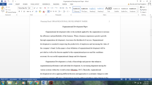Organization Development Paper | Documents and Forms | Research Papers