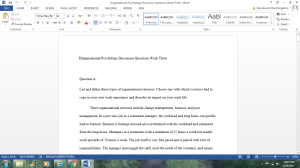 Organizational Psychology Discussion Questions Week Three | Documents and Forms | Research Papers