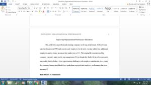 """improving organizational performance"" simulation summary"