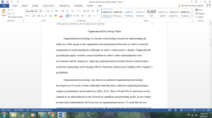 Organizational Psychology Paper   Documents and Forms   Research Papers