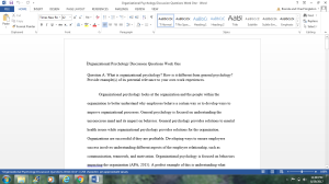 Organizational Psychology Discussion Questions Week One   Documents and Forms   Research Papers
