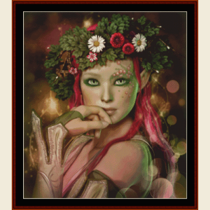 elven maiden - fantasy cross stitch pattern by cross stitch collectibles