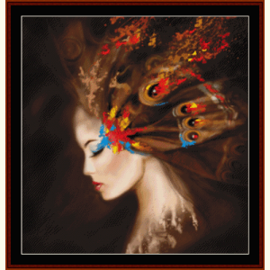 autumn butterfly woman - fantasy cross stitch pattern by cross stitch collectibles