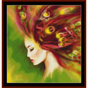 spring butterfly woman - fantasy cross stitch pattern by cross stitch collectibles