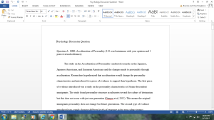 Discussion Questions on Psychology | Documents and Forms | Research Papers