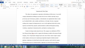 Organizational Culture Paper | Documents and Forms | Research Papers