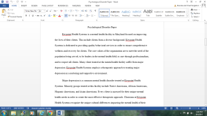 Psychological Disorder Paper | Documents and Forms | Research Papers